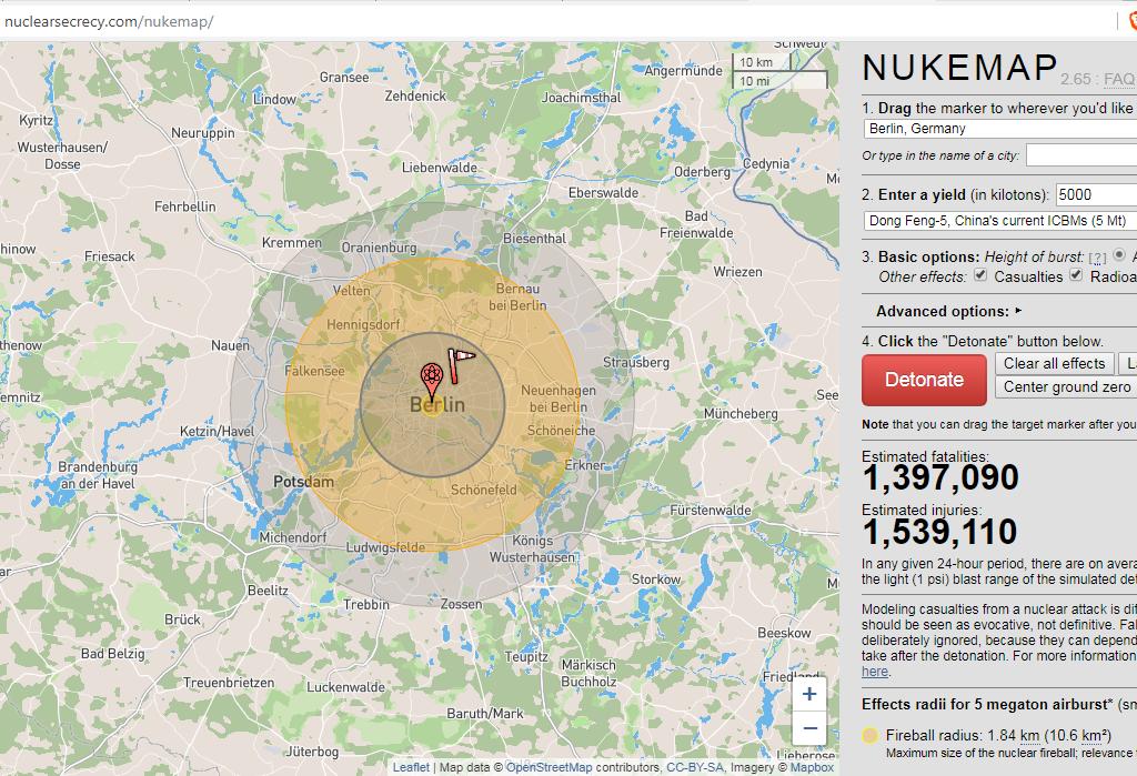 Atomwaffen Simulation Nukemap