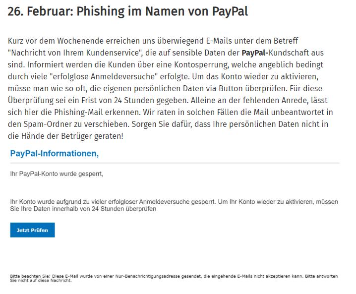 Beispiel Phishing Paypal aus dem Phishing Radar der Verbraucherzentrale