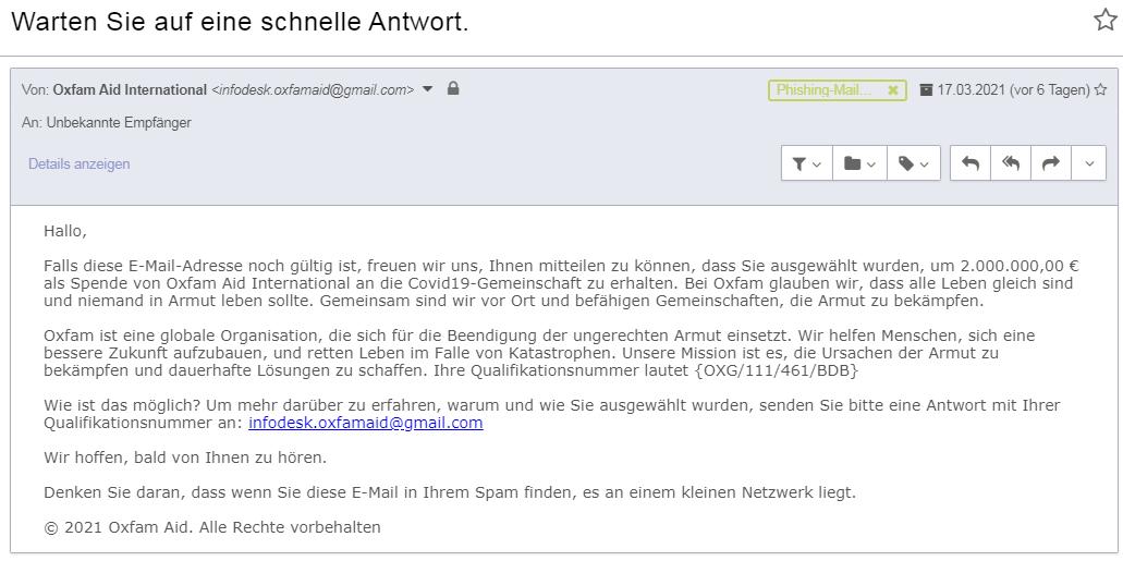 Ein etwas ausgefalleners Beispiel für Phishing