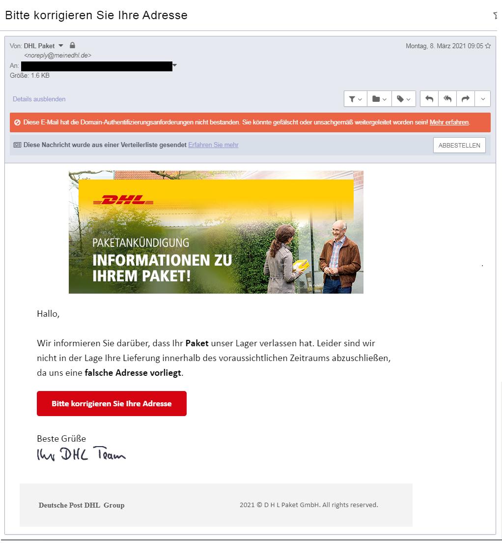 Phishing Mail Beispiel 2