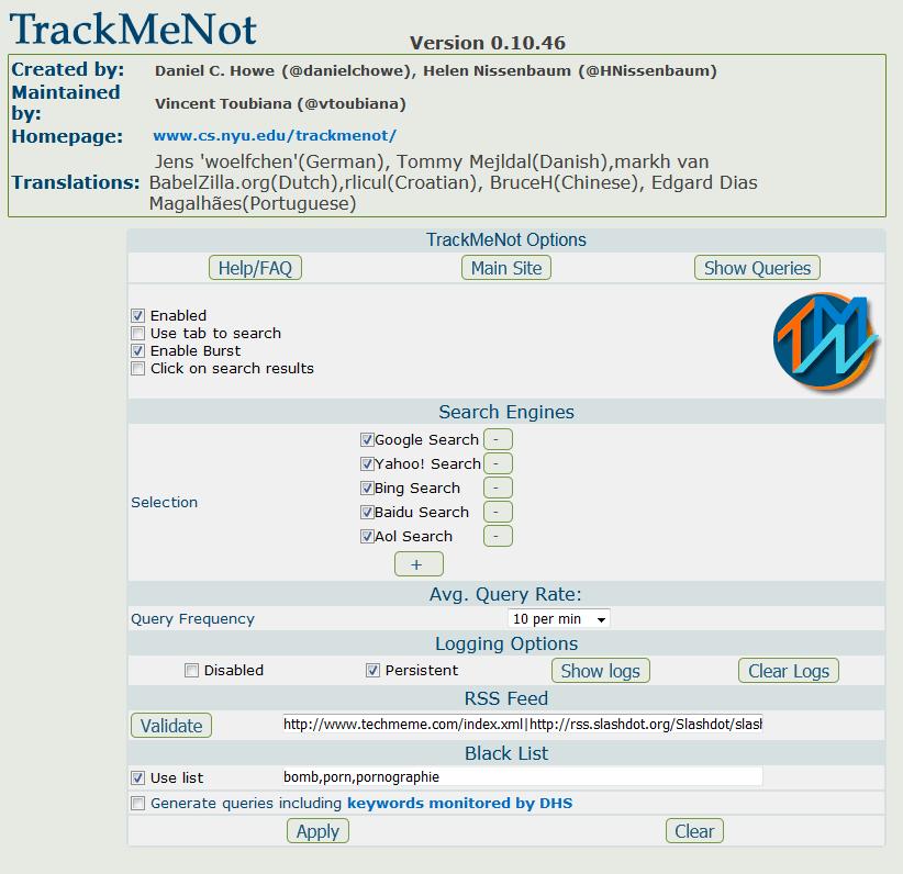 TrackMeNot zur Gegeninformation und Cybersecurity-min